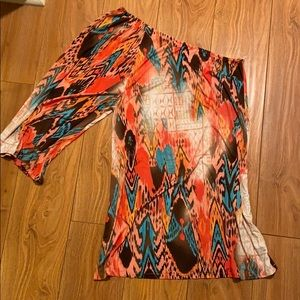 One shoulder multicolor dress